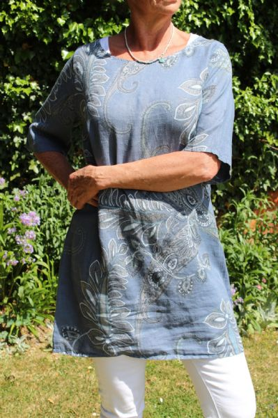 PAISLEY LINEN DRESS GREY WITH TURQUOISE WAS £50 NOW